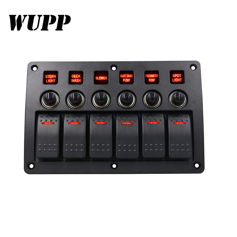 Image 2 - WUPP 6 Gang Boat Rocker Switch Panel  Auto/Marine/Yacht AC/DC LED Light Waterproof  Circuit Breakers Switch Panel-in Car Switches & Relays from Automobiles & Motorcycles
