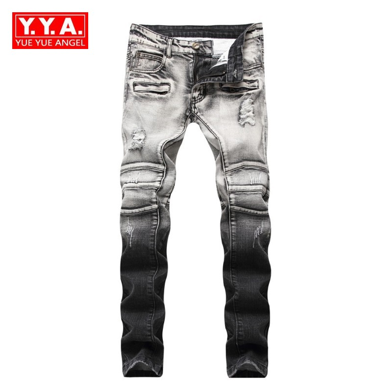 2018 Autumn Mens Brand Jeans Straight Spliced Skinny Ripped Jeans Pants for Men Europe and America Biker Trousers Overalls Male стоимость