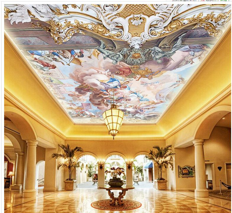 Custom photo wallpaper 3D stereoscopic Palace angel painting the ceiling 3d wallpaper modern for living room murals blue earth cosmic sky zenith living room ceiling murals 3d wallpaper the living room bedroom study paper 3d wallpaper