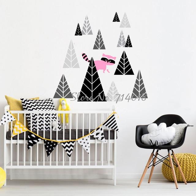 Wandtattoo Wald Kinderzimmer | Woodland Waschbaren Wandtattoo Wald Dreieck Baume Tiere