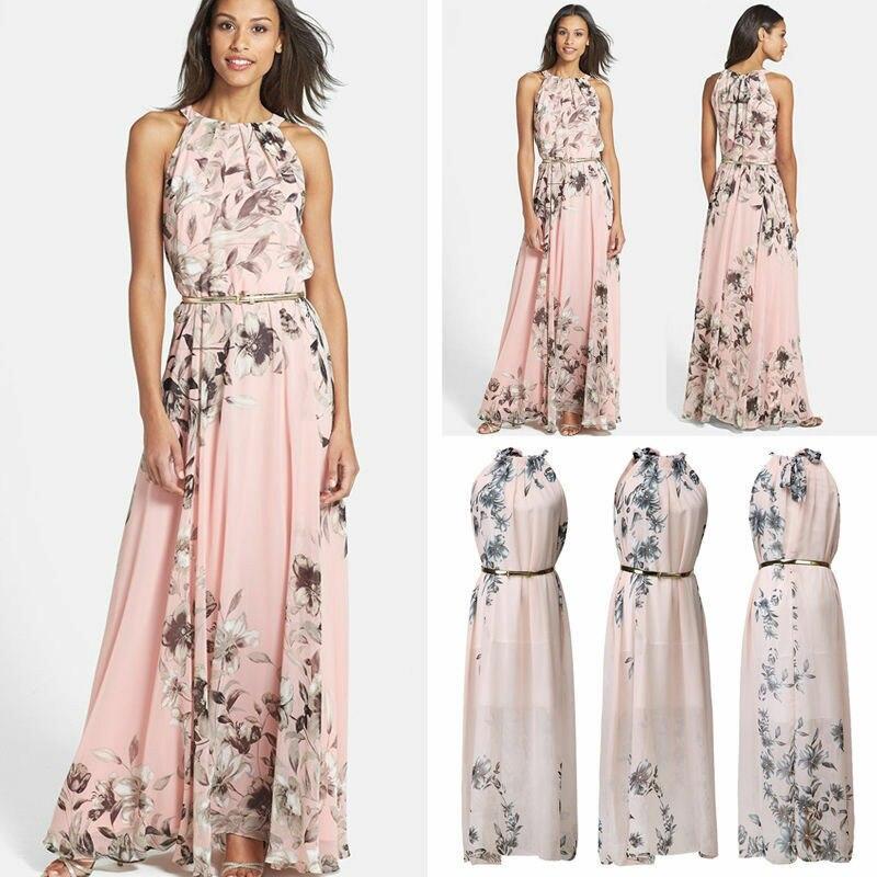 Hirigin 2019 Summer New Style Fashion Women Sleeveless Chiffon Casual Beach Long Floral Dress Party Dress