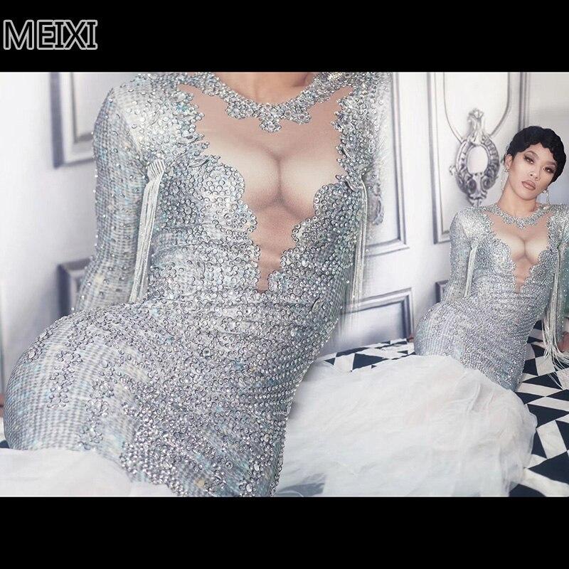 Glittering rhinestone silver online one piece dress party nightclub bar concert DJ singer dancer costumes
