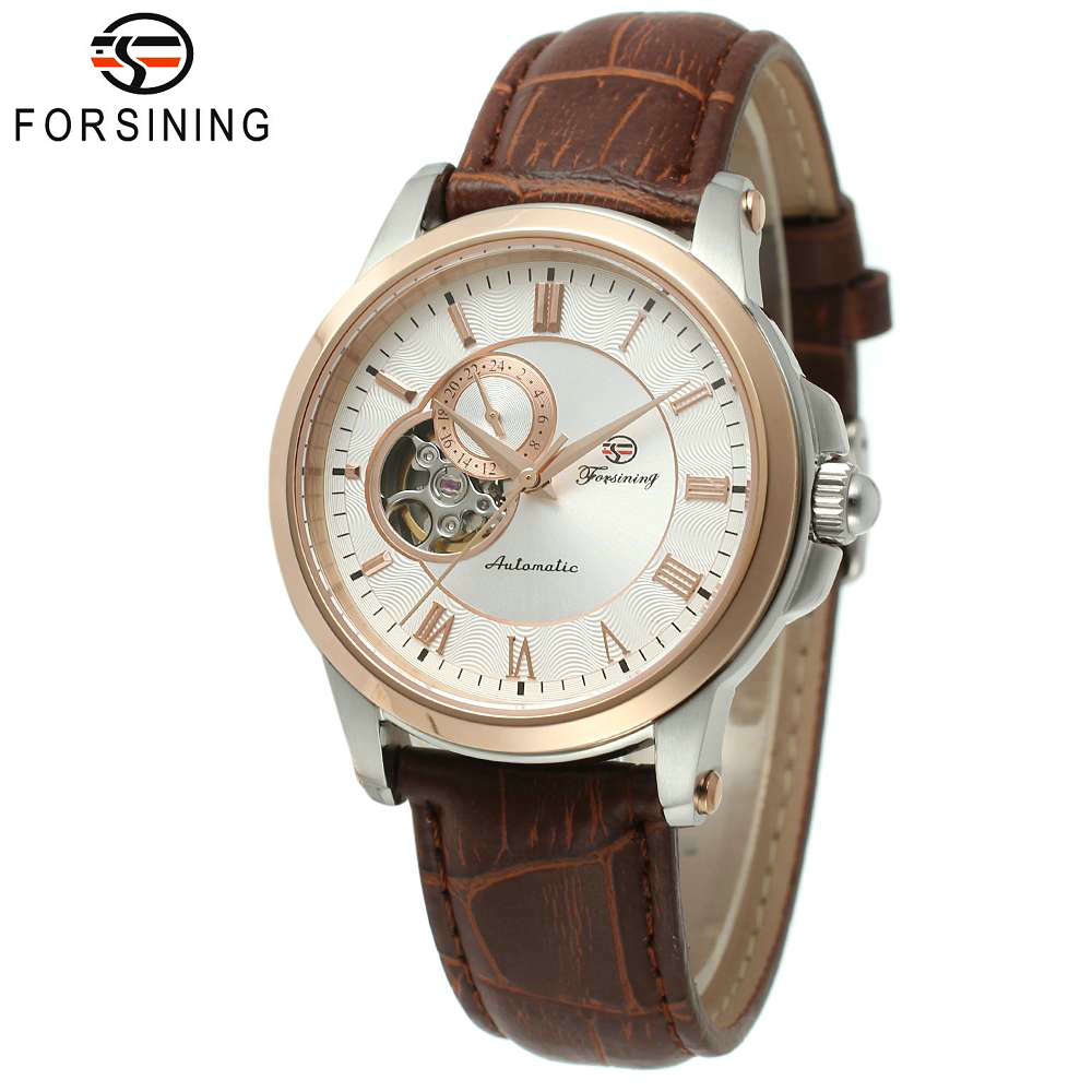 FORSINING Fashion Business Men Automatic Mechanical Watch Brown Leather Strap Roman Number Skeleton Dial Retro Design Wristwatch winner men posh mechanical wrist watch leather strap tourbillion sub dial roman number crystal skeleton dial montre homme box