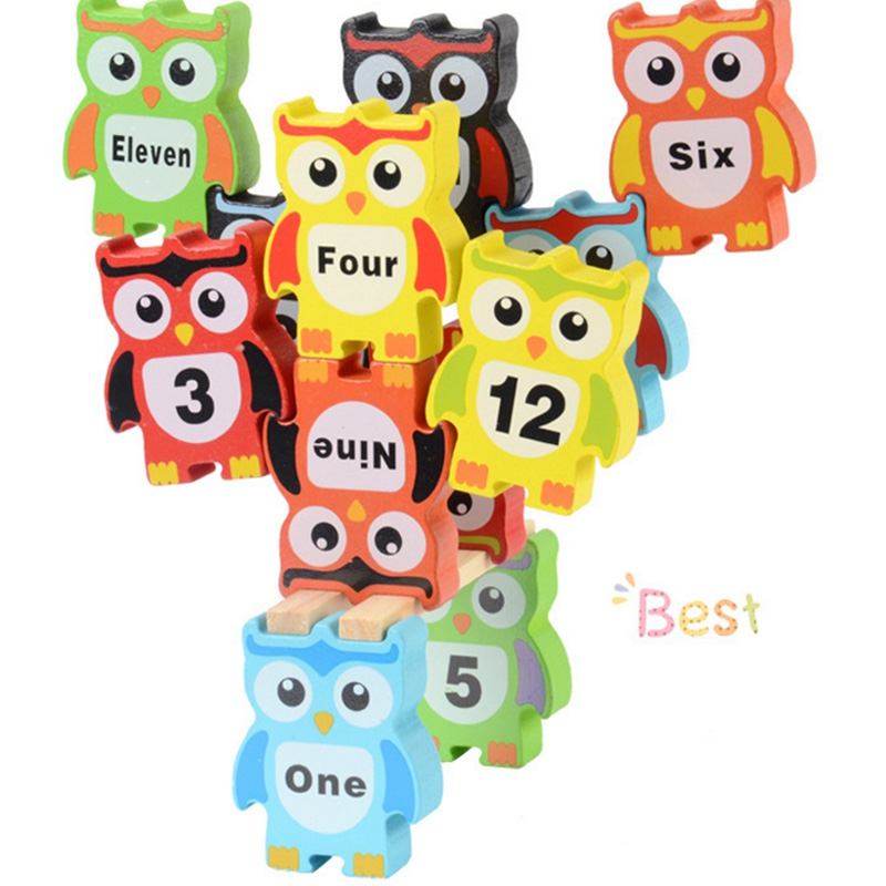 Kids Board Game Wooden Owl Balance Block Wood Toy Blocks Fun Early Learning Toys Family Party Games Children's Gifts Box Package bohs 2 persons parent child board game family fun recreation