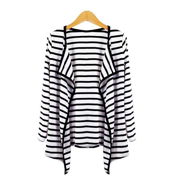 GZDL Casual Long Sleeve Open Stitch Tops Striped Women Jacket Coat Fashion Lady Spring Autumn Cardigans Sweater Outerwear CL0521