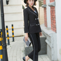 Women Black Work Pant Suits Office Lady Fashion Uniform Jacket Blazer High Waist Ankle Length Pant