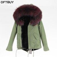 Пальто из натурального меха бренд 2019 хаки зеленая зимняя куртка женская парка натуральный большой енот меховой воротник теплый толстый мяг