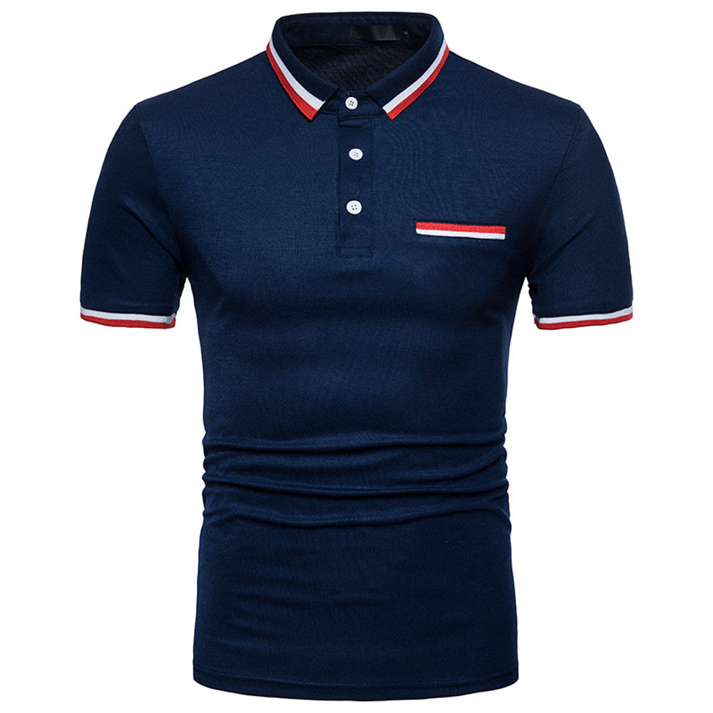 2019 Mens Male Short Sleeve Casual Slim Solid Color Deer Embroidery   Polo   Shirt Breathable Tee Tops Gradient England Style