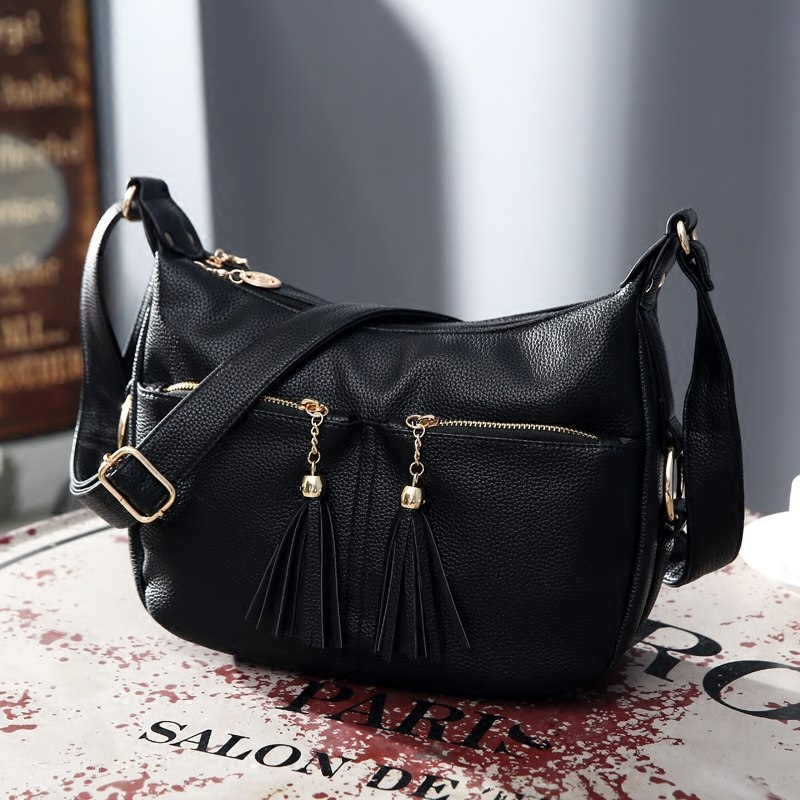 Women\'S Leather Handbags Shoulder Crossbody Bags Ladies Tassel Messenger Bag Hobos Women Bags