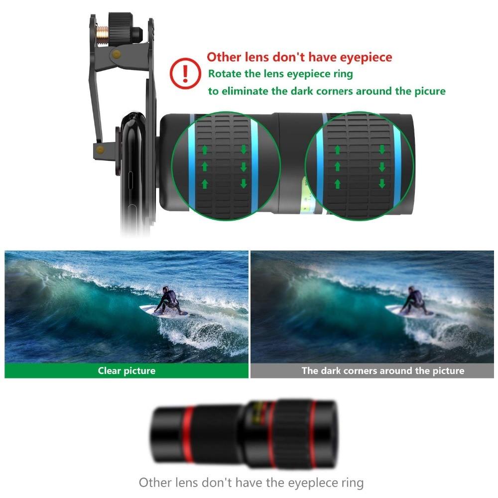 Fotos de la cámara del teléfono con lente DSLR: teleobjetivo con Zoom 12X + gran angular 0,36x + lente Super ojo de pez + lente Macro 15X (2 uds) para iphone Android - 6