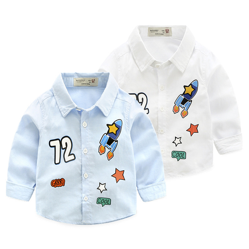 New Spring Boys Shirt Children's Clothing Boys Printing Rocket Cartoon Oxford Long-sleeved Shirt Casual White Blouses Wholesale