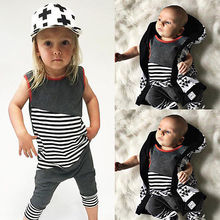 Children Kids Baby Girls Boys Clothes Striped Romper Jumpsuit Outfits 0-24M