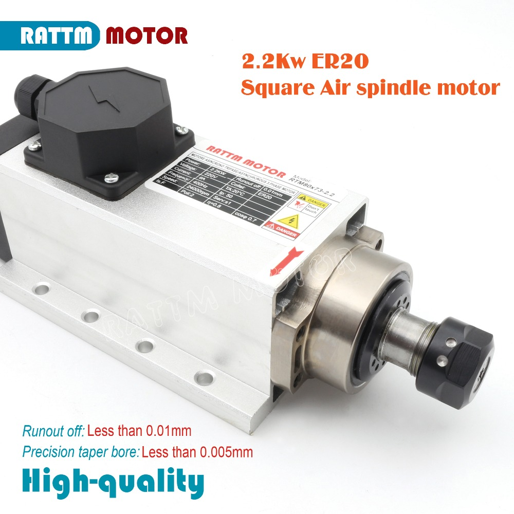 US Square 2.2kw Air cooled spindle motor ER20 runout-off 0.01mm,220V,4 Ceramic bearing 24000rpm for CNC Router Engraving Milling zest zest 23742 3