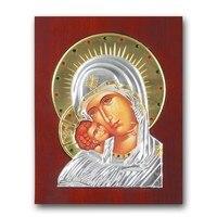 Iconos ortodoxos orientales de arte ruso virgen maría icono de plata de metal marco de madera decoración del hogar artesanías de decoración de estilo Europa dios