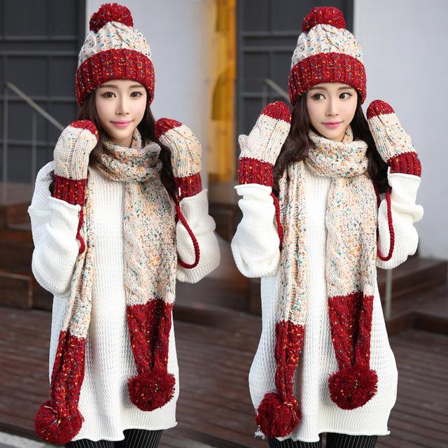 Luvas chapéu cachecol de três peças conjunto de uma peça silenciador cachecol meninas feminina inverno malha espessamento chapéu do aniversário do natal giftR181