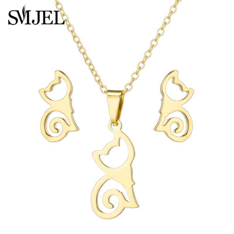 SMJEL nouveauté en acier inoxydable demi-lune colliers pour femmes filles Simple croissant chat boucles d'oreilles Piercing collier boucles d'oreilles