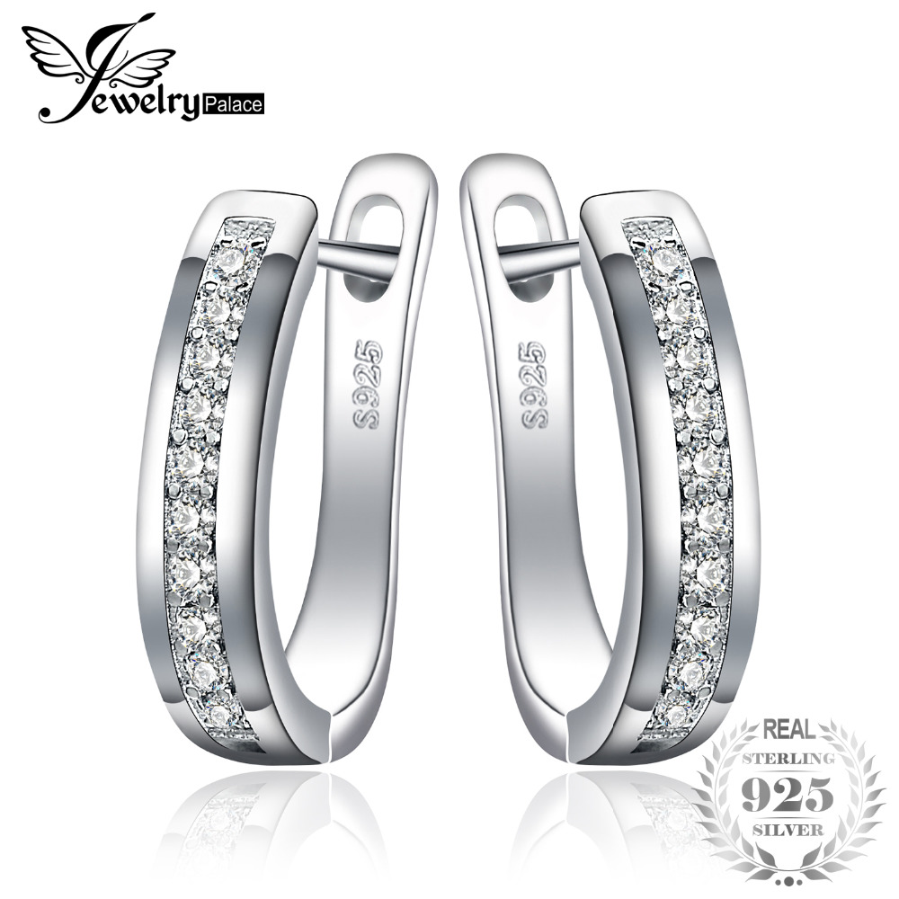 JewelryPalace 925 Sterling Silver Earrings Anniversary Channel Eternity Earrings New Fine Jewelry Gift For Girlfriend 2018 Hot