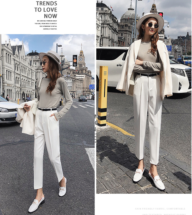 BGTEEVER OL Style White Women Pants Casual Sashes Pencil Pant High Waist Elegant Work Trousers Female Casual pantalon femme 18 6