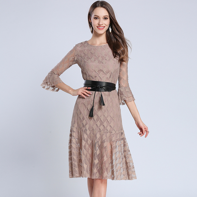 Spring Women Dress Slim Tail Dresses Brown Black With Alt Qi Color Code 3275