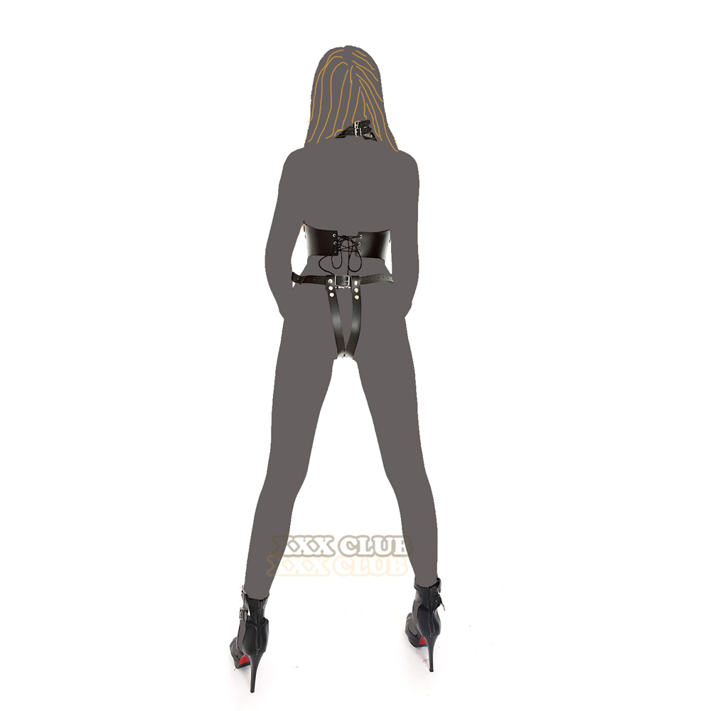 Thierry adult games Fetish Genuine Leather Women's Bondage cupless bare breast open the crotch with neck collar Chastity device