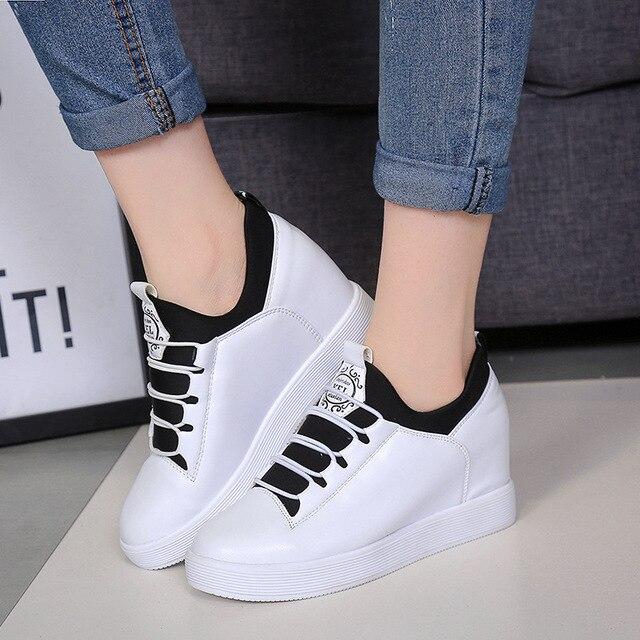 2015 женщин клинья платформы обувь белый холст женщины скрытые высота высокий верх высота увеличение zapatos scarpe донна