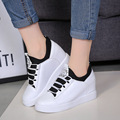 2015 womens wedges platform shoes white canvas women hidden height high top height increasing zapatos scarpe donna