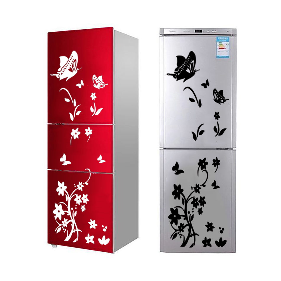DIY butterflies fridge sticker flower art sticker wall sticker for refrigerator wall decals for kids room living room decor 2019(China)