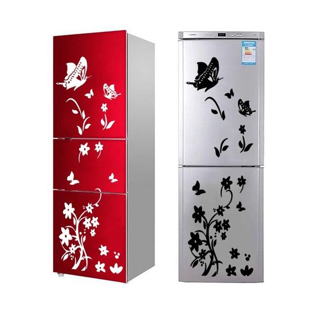 DIY butterflies fridge sticker flower art sticker wall sticker for refrigerator wall decals for kids room living room decor 2019