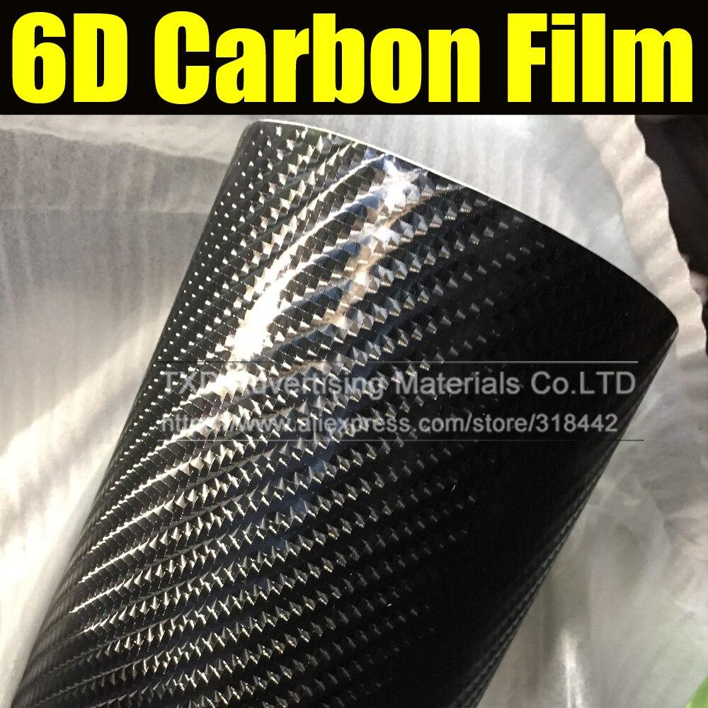 Livraison gratuite 1.52X5 M (5FTX16. 4FT) autocollant en vinyle carbone 6D avec bulles d'air pour décoration de voiture