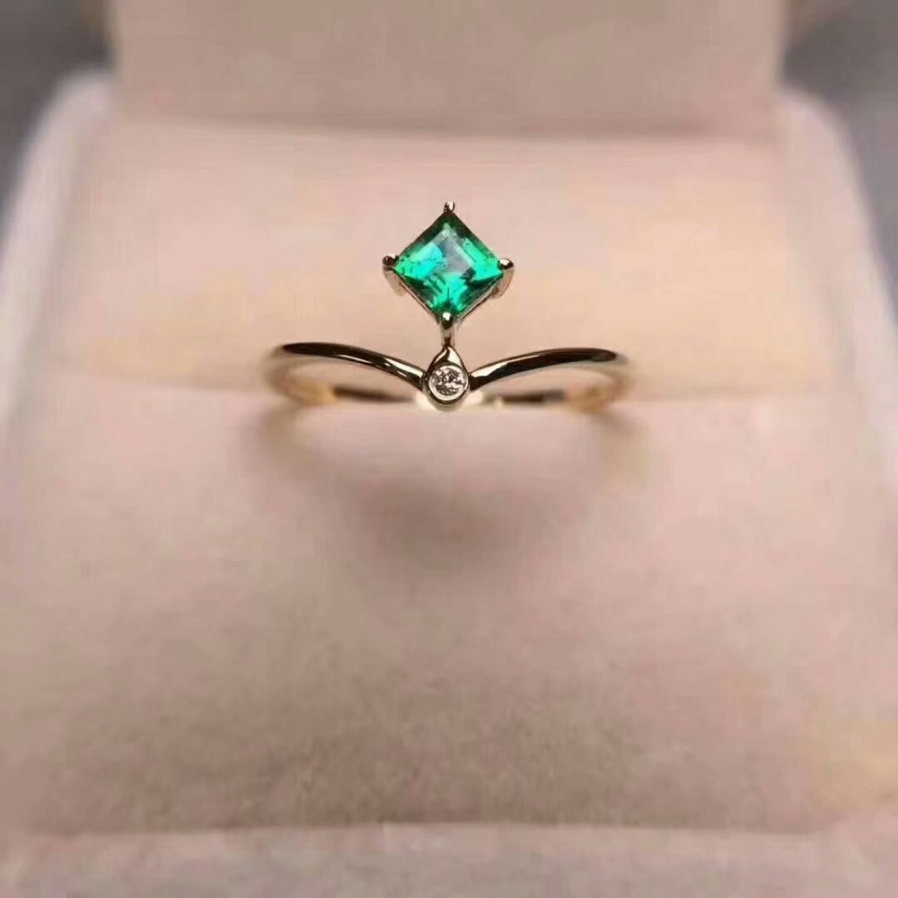 100% 925 Sterling Silver Natural Green Emerald Rings Fine Jewelry Gift Women Wedding Open Wholesale New Plant 3*3mm Cj030301agml
