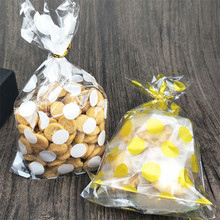 200pcs 13x21cm Small plastic bags transparent Food Packaging Bag DIY Cookie Candy Party Sweet gift bag White Gold Dots