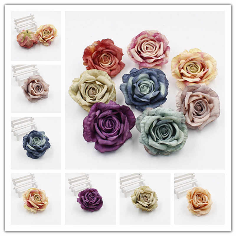 1pcs คุณภาพสูง rose จำลอง DIY งานแต่งงานดอกไม้มือตกแต่งผ้าไหมผ้าดอกไม้หัวตกแต่งห้องนั่งเล่น @ 2