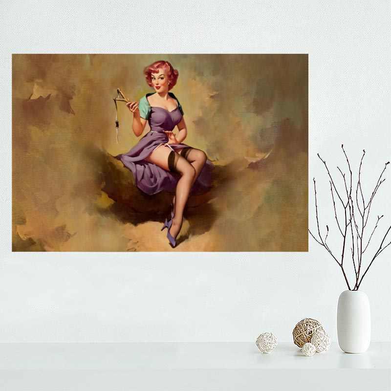 Nice Custom Pin Up Girls Canvas Poster Print painting Art Wall Silk Poster cloth print Fabric Poster