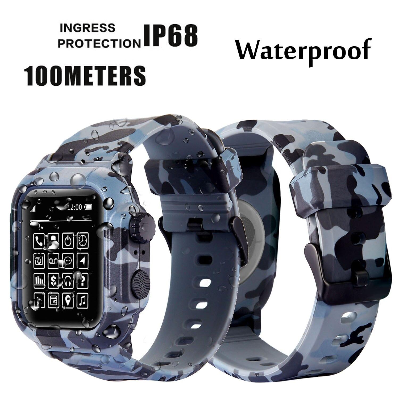 Dive Wasserdicht Sport Band Fall Abdeckung für Apple Uhr Fall Serie 4 3 2 Silikon Band 44mm 42mm 40mm Strap Stoßfest Rahmen