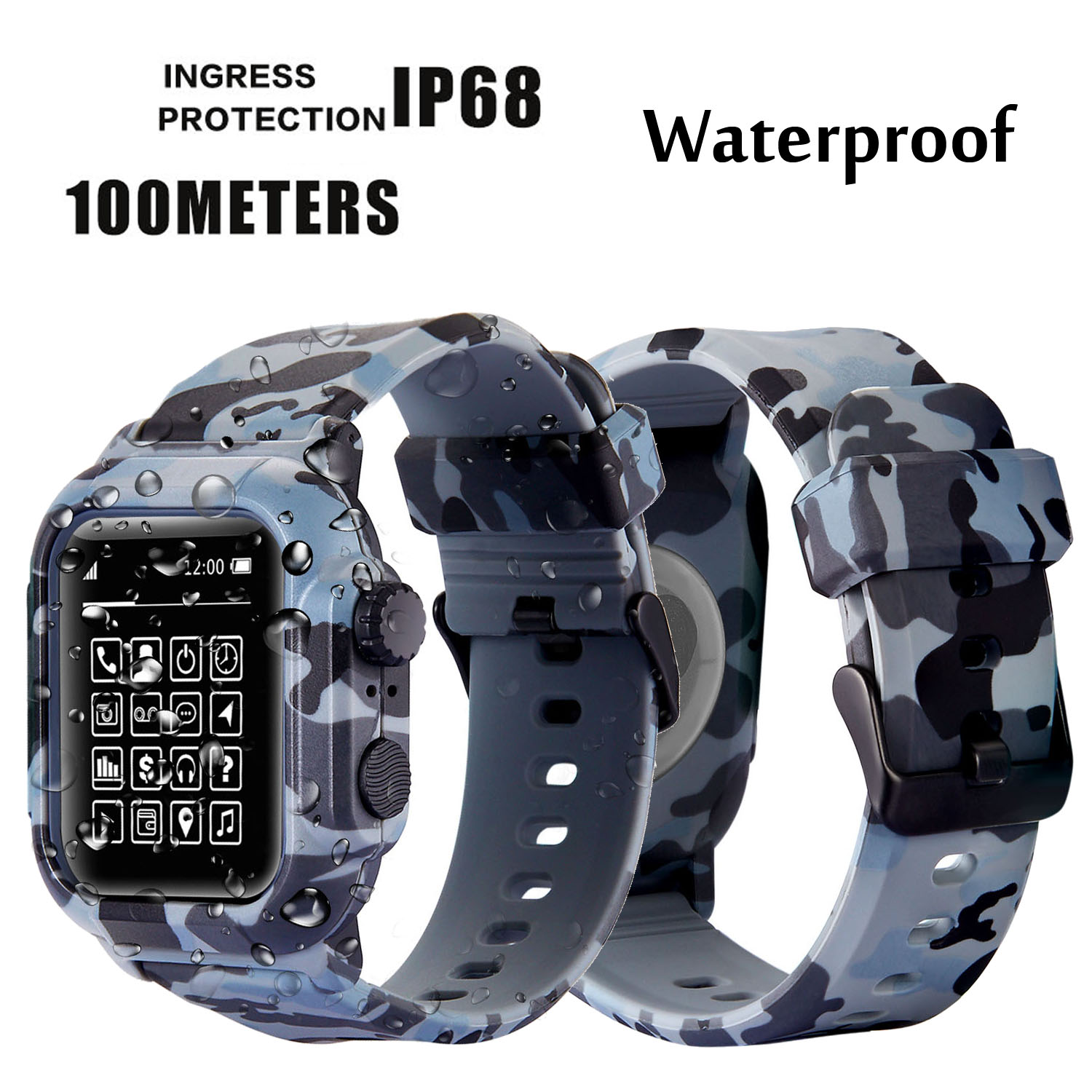 Dive Waterproof Sports Band Case Cover For Apple Watch Case Series 4 3 2 Silicone Band 44mm 42mm 40mm Strap Shockproof Frame