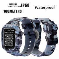 Dive wodoodporna opaska sportowa skrzynki pokrywa dla Apple Watch Case seria 4 3 2 pasek silikonowy 44mm 42mm 40mm pasek odporna na wstrząsy rama