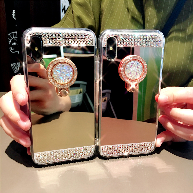 Luxury Diamond Plating Mirror Ring bracket phone <font><b>cases</b></font> For <font><b>Samsung</b></font> S5 S6 S7 Edge S8 S9 S10 Plus <font><b>Note8</b></font> Stand Cover Shell image