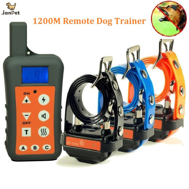 Waterproof Rechargeable Dog Training Collar Pet Trainer Electric Dog Collars with Remote Range 1200meters