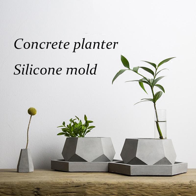 V002 Hexagone béton planteur moule en silicone à la main artisanat home décoration succulentes plante en pot vase de ciment moules