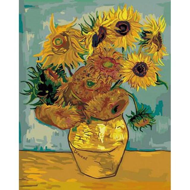 Van gogh tournesol peinture par num ros nouvelle ann e d coration diy toile peinture l 39 huile - Peinture a l huile van gogh ...