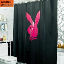 Free shipping 2014 New Arrival Black Shower Curtains Rabbit Blackout Polyster Fabric Thickening Waterproof Bath curtain