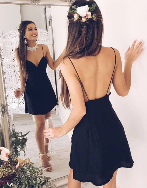 Sexy 2019 Elegant   Cocktail     Dresses   A-line Spaghetti Straps Short Mini Chiffon Backless Party Plus Size Homecoming   Dresses
