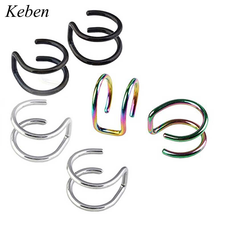 1 pairs Clip On Wrap Earring Tragus Stainless Steel Rings Ear Cuff Clip nose ring Fake Piercing Body Jewelry Dilataciones Falsas