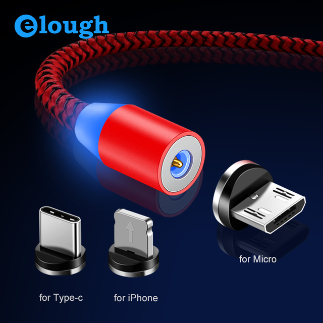 Elough 360 LED Magnetic Charging Cable for iPhone XR XS MAX X 8 7 6 Plus Micro USB Cable Type C Mobile Phone Magnetic Charger