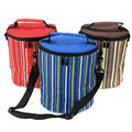 2017 Waterproof Striped Round  Oxford Cloth Insulated Thermal Fresh Picnic Lunch Bag Large Capacity Free Shipping P467