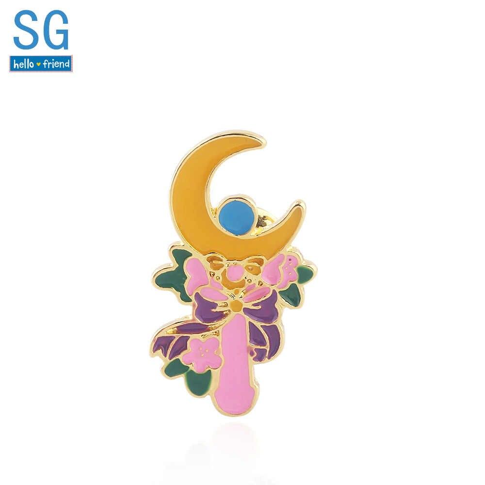 SG 2019 del Nuovo del Anime Sailor Moon Smalto Spille Tsukino Usagi Luna Fiori Bastone Distintivo Spilli Delle Ragazze Delle Donne Gli Uomini Choker Dei Monili regalo