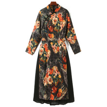 New Design Chinese Women Cheongsam Dress Fake Two Piece Full Sleeve Fl Print Patchwork Vintage Elegant