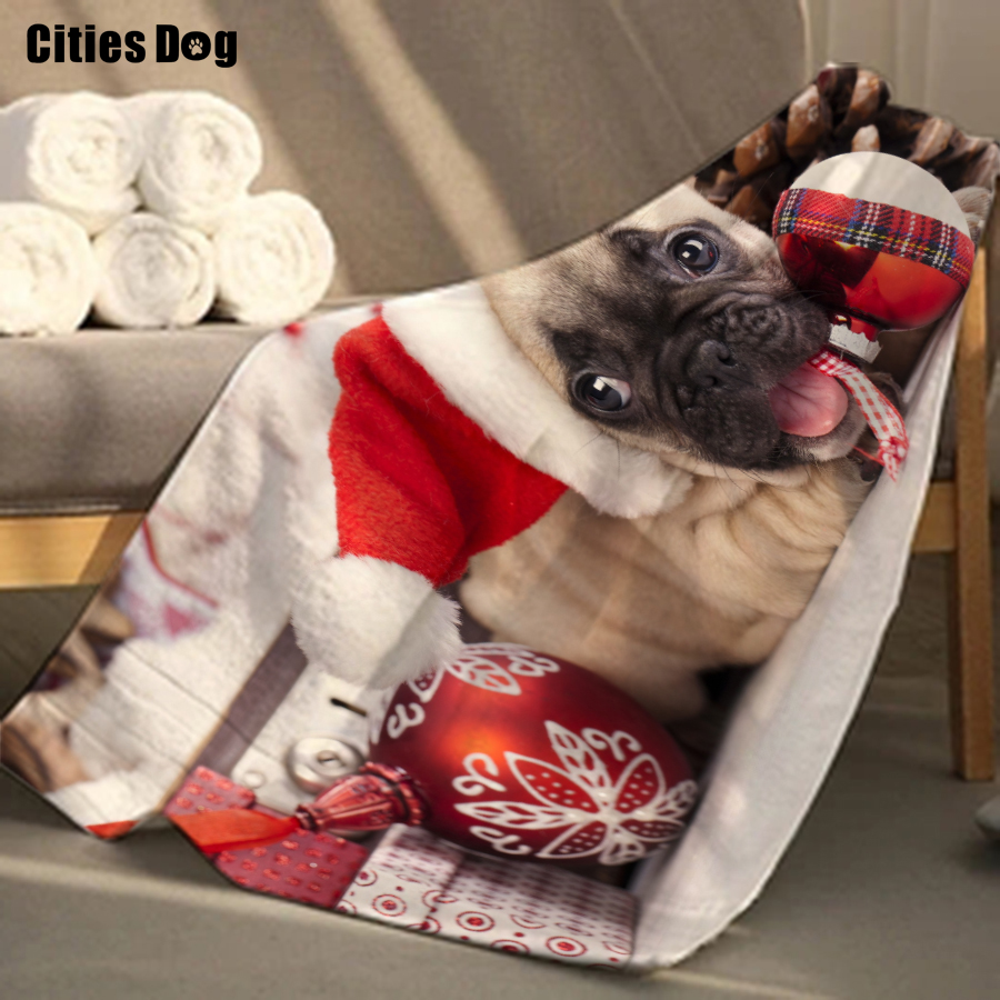 Serviette de plage de noël bouledogue Animal microfibre voyage en plein air Sports natation Camping bain Yoga tapis couverture