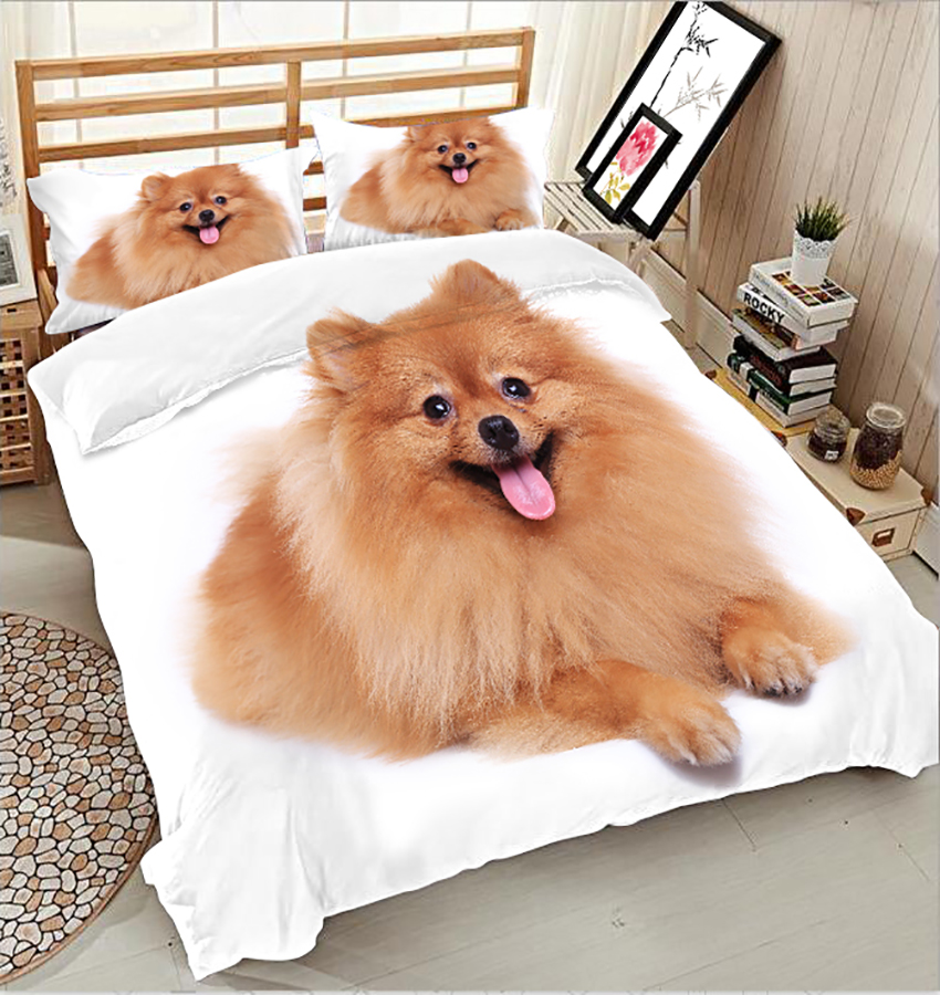 Twin Full queen cover set bed sheet Duvet Cover Long haired dog Pillowcase  bed cover 3D Bedding Set Double Bed set king sizeTwin Full queen cover set bed sheet Duvet Cover Long haired dog Pillowcase  bed cover 3D Bedding Set Double Bed set king size