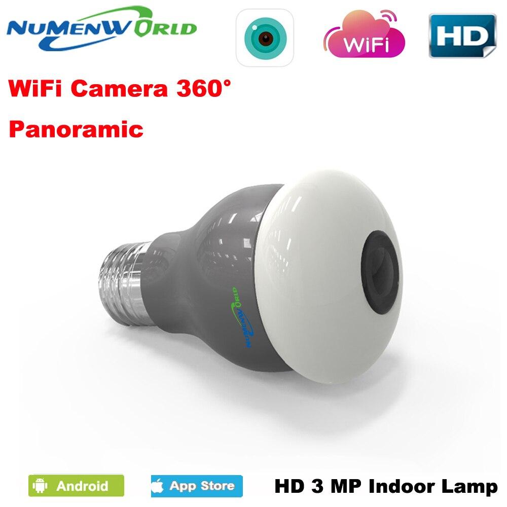 Panoramiques amin-sécurité Wifi VR smartphone | Appareil photo, ampoule de sécurité, détection de mouvement, prise en charge de CCTV, téléphone tablette PC, 360